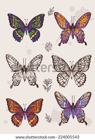 Set of colorful isolated butterflies. - stock vector