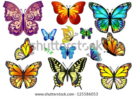 Set of colorful isolated butterflies. Vector - stock vector