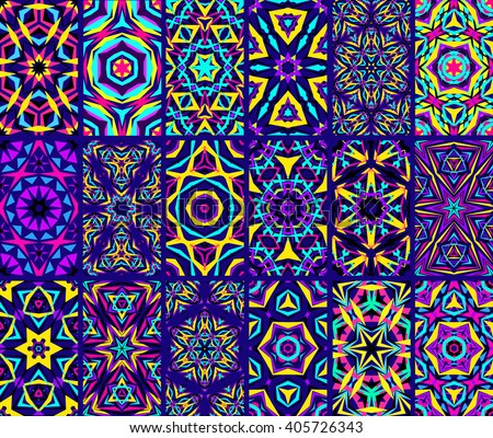 Set of colorful kaleidoscope seamless patterns. Decorative mandala ornament. Geometric design elements. Rainbow wallpaper, fabric, furniture print. Abstract vector flowers and stars. Psychedelic tiles - stock vector
