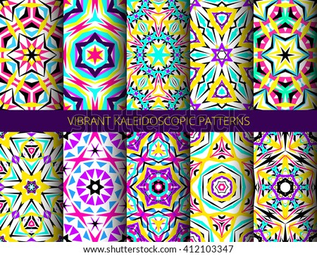 Set of colorful kaleidoscope seamless patterns. Decorative mandala ornament. Geometric design elements. Rainbow wallpaper, fabric, furniture print. Abstract vector flowers and stars. Psychedelic style - stock vector