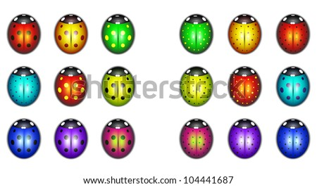 set of  colorful ladybugs - stock vector