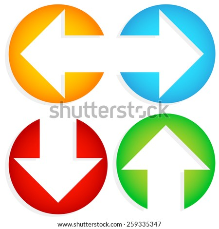 Set of Colorful Left-Right, Up-Down Arrows cut in circles - stock vector