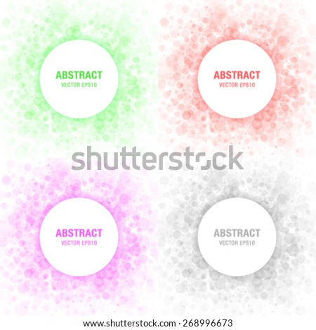 Set of Colorful Light Abstract Circles Frames Design Elements, cosmetics, soap, shampoo, perfume, medicament label background - stock vector