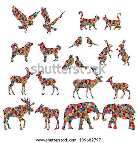 Set of colorful lovely animal lovers couples silhouette: deers, owls, pigeons, elephants, moose, roes, hares, birds, cats, dogs. - stock vector