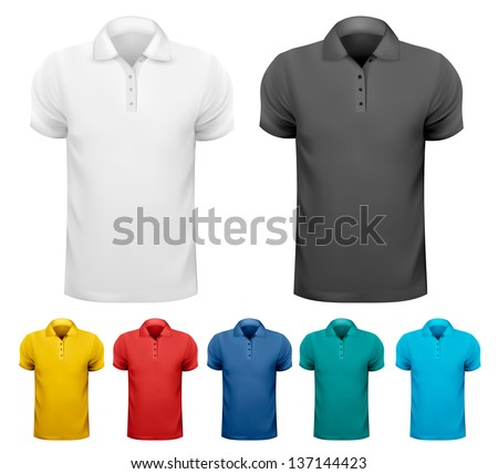 Set of colorful male shirts. Vector. - stock vector