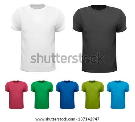 Set of colorful male t-shirts. Vector. - stock vector