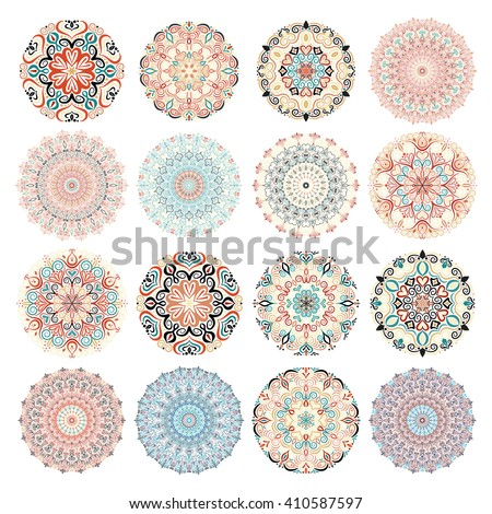 Set of colorful mandalas. Decorative round ornaments. Anti-stress therapy patterns. Weave design elements. Yoga logos, backgrounds for meditation poster. Unusual flower shape. Oriental flourish vector - stock vector