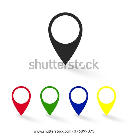 Set of colorful map pointer icons. GPS location symbol. Vector illustration web design element - stock vector