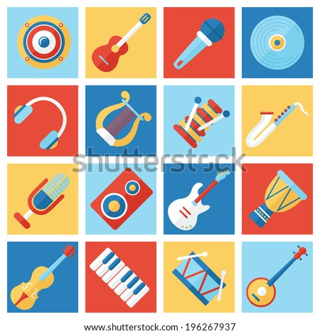 Set of colorful musical instruments. Flat style - stock vector
