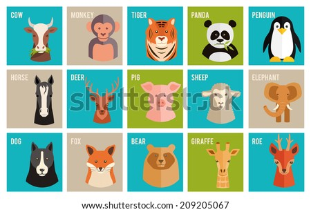 Set of colorful named cartoon vector icons of animals and pets in flat style with the heads of a horse  cow  monkey  tiger  panda  penguin  deer  roe  pig  sheep  elephant  dog  fox  bear and giraffe - stock vector