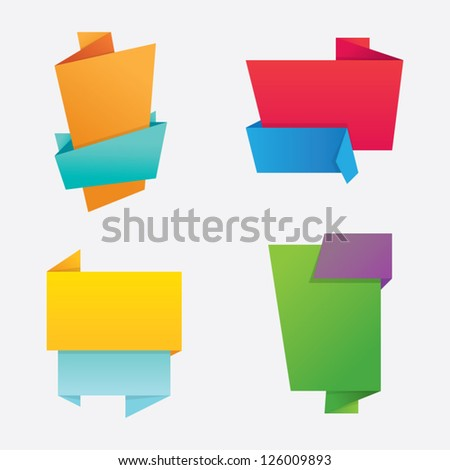 Set of Colorful Origami Labels - stock vector