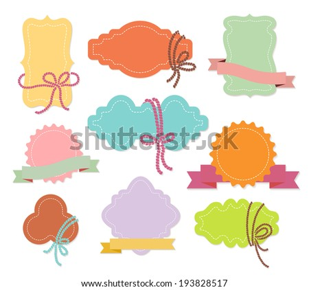 Set of colorful ornamental labels or tags with ribbons in nine different shapes with copyspace for your greeting or text  vector illustration isolated on white - stock vector