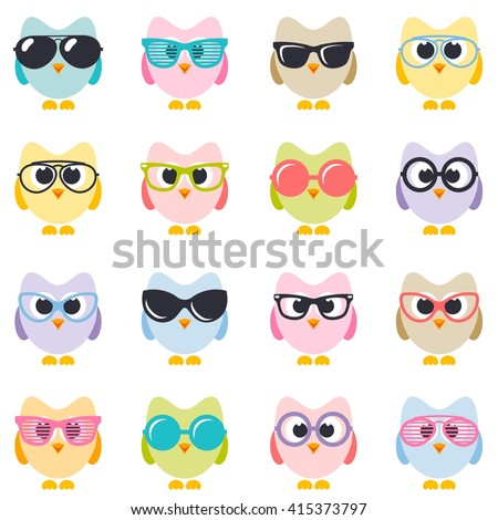 set of colorful owls with sunglasses - stock vector