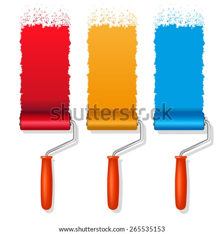 Set of colorful paint roller brushes. Vector illustration - stock vector