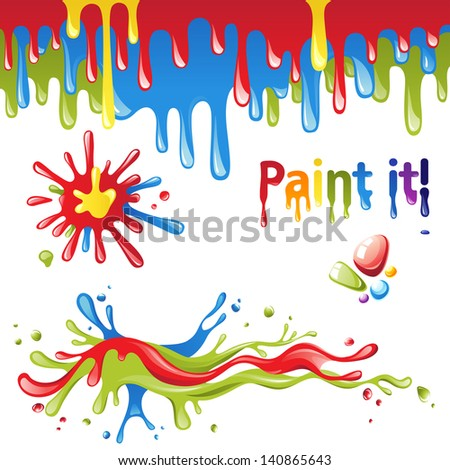 Set of colorful paint splashes - stock vector