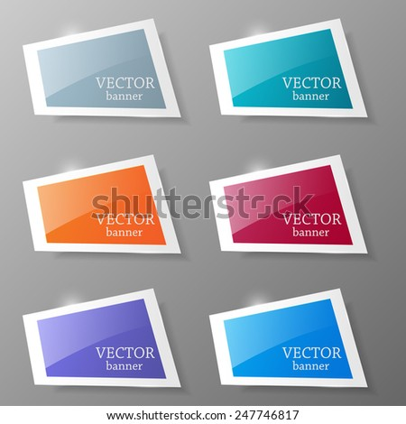 Set of colorful paper banners . Vector illustration.  - stock vector