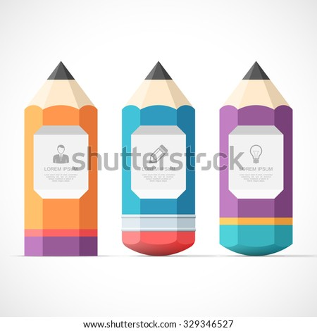 Set of colorful pencil banners with place for your content. Easy to change colors. - stock vector