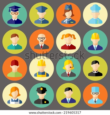 Set of colorful people occupation icons  - stock vector
