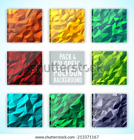 set of colorful polygonal backgrounds concept. Vector illustration design - stock vector