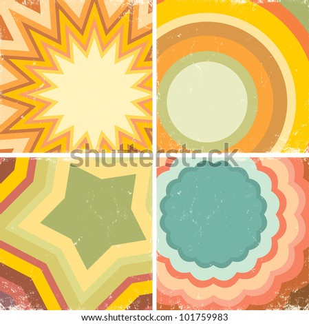 Set of colorful posters in the music style - stock vector