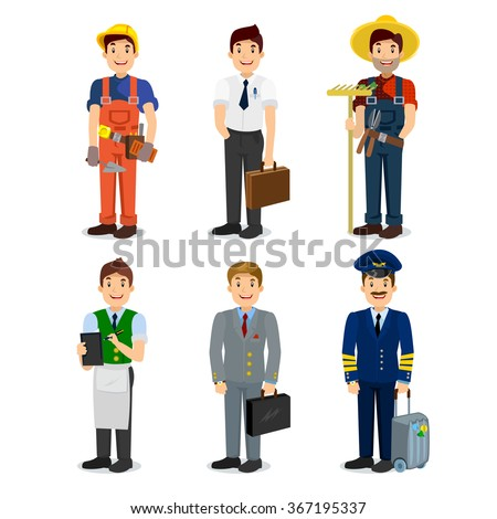 Set of colorful profession man flat style icons: pilot, businessman, builder, waiter, farmer, manager. Vector characters of different professions. - stock vector