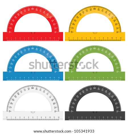 Set of colorful protractor rulers - stock vector