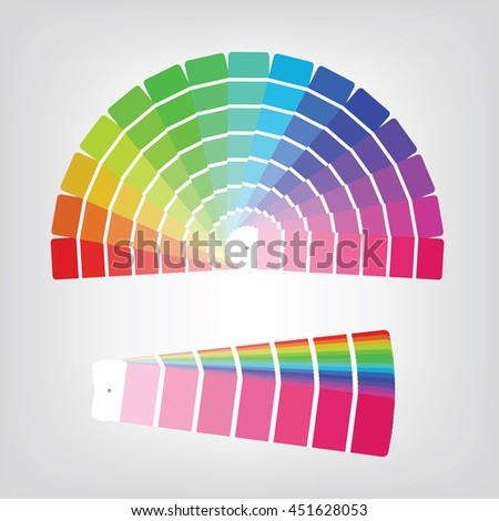 Set of colorful radial gradient badges and collapsed color papers made of rainbow spectral colors placed on light white background - stock vector