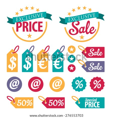 Set of colorful retail stickers and ribbons. Discount sale badge concept. - stock vector