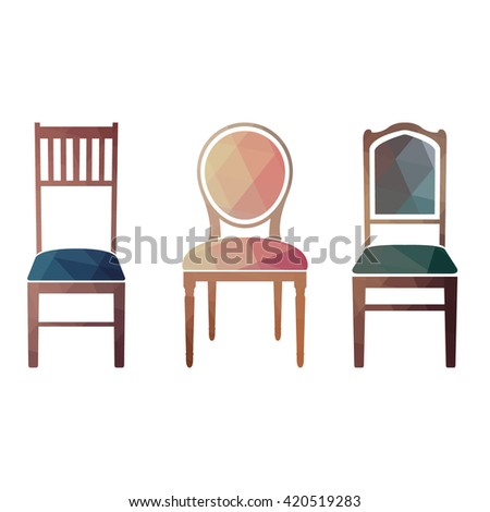 Set of colorful retro chairs. vector illustration in style triangular. - stock vector