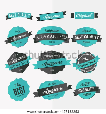 Set of colorful retro labels, stickers and ribbons, flat design elements - stock vector