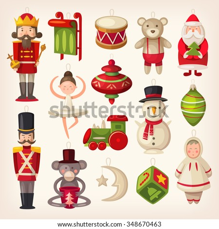 Set of colorful retro wooden christmas tree toys. - stock vector