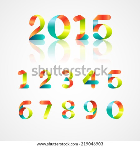 Set of colorful ribbon font. Numbers 0,1,2,3,4,5,6,7,8,9,0. Font of new year 2015. Vector illustration - stock vector