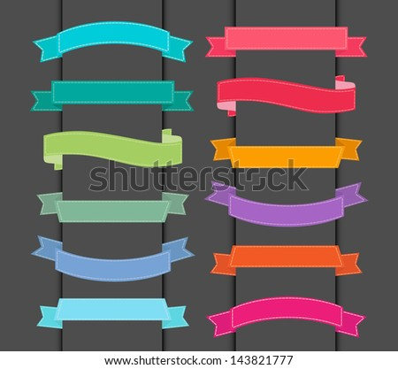 set of colorful ribbons - stock vector