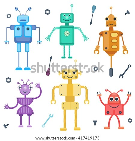 Set of colorful robots. Retro robots by flat cartoon style. Vector illustration. Toy collection for children, boys   - stock vector