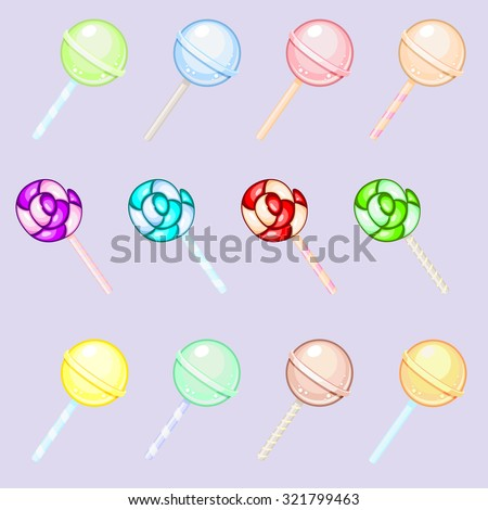 Set of colorful round and spiral lollipops isolated over light background - stock vector