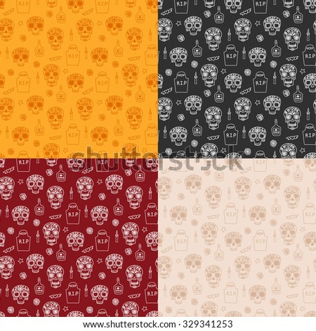 Set of 4 colorful seamless patterns with skulls, tombstones, tequila, flowers and candles for Dia de los mueros (Day of the dead) and Halloween. Vector eps10. - stock vector