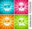 Set of colorful Skulls on Burst Background - stock vector