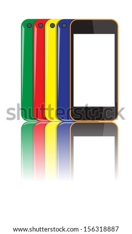 set of colorful smartphones vector images - stock vector