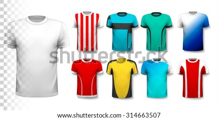 Set of colorful soccer jerseys. The T-shirt is transparent and can be used as a template with your own design. Vector. - stock vector