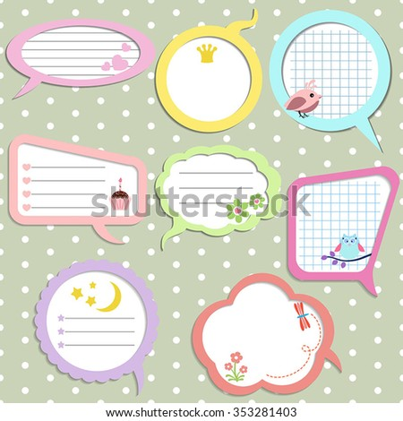 Set of colorful speech bubbles with different elements. - stock vector