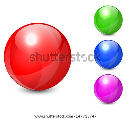 Set of colorful spheres isolated on white background. Vector illustration EPS10. - stock vector