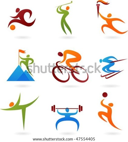 Set of colorful sport icons - stock vector