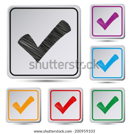 Set of colorful square button.Vector illustration of check box - stock vector