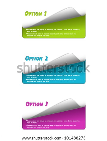 Set of colorful stickers for your options-vector - stock vector