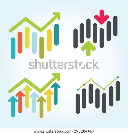 Set of colorful stock market graph - stock vector