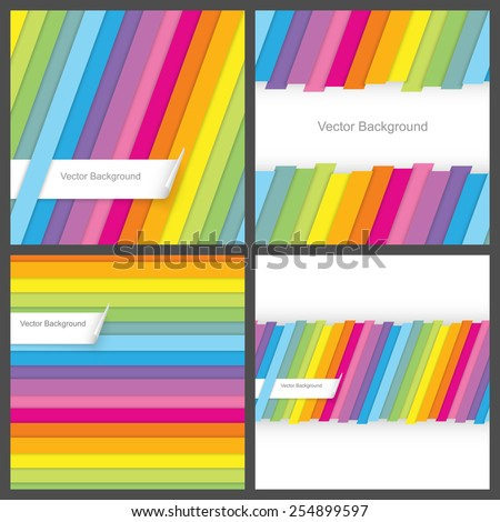 Set of colorful striped seamless background. - stock vector