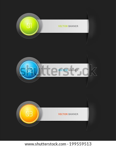 Set of 3 colorful stripes with place for your own text.  - stock vector