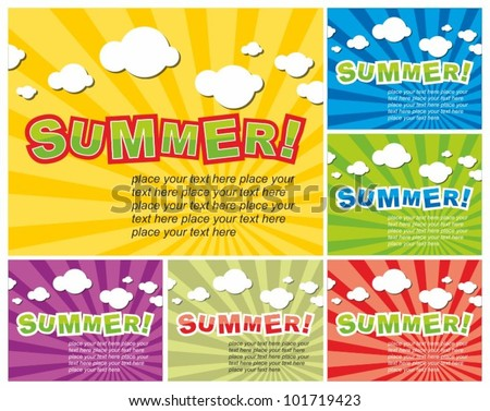 Set of colorful summer background - stock vector