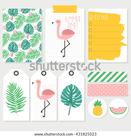 Set of colorful summer cards, labels and tapes with flamingos. Lovely summer design. Template for scrap booking, wrapping, congratulations, invitations, printable card. - stock vector