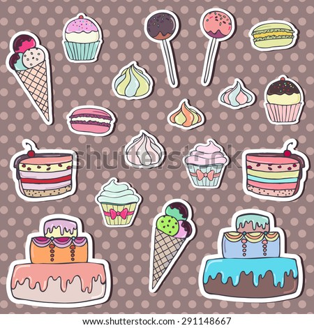 Set of colorful sweets stickers on polka dot background. Cupcake, macaroon, cake, ice cream and cake pops. Vector illustration eps8 - stock vector